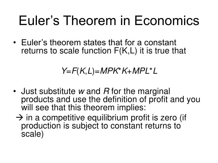 Euler's Theorem in Economics