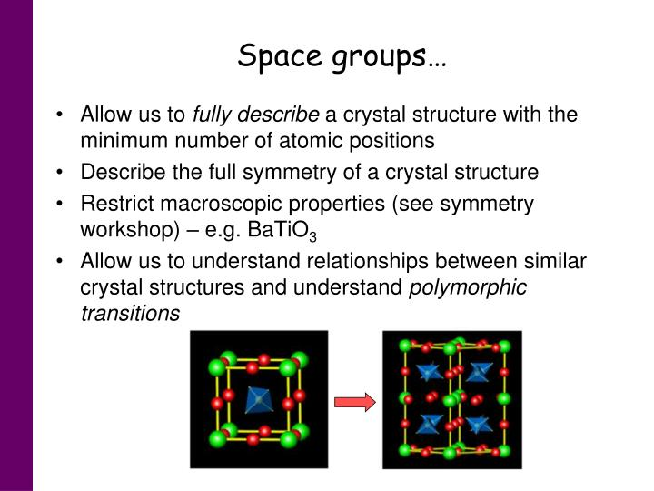 Space groups…