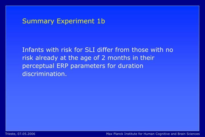 Summary Experiment 1b