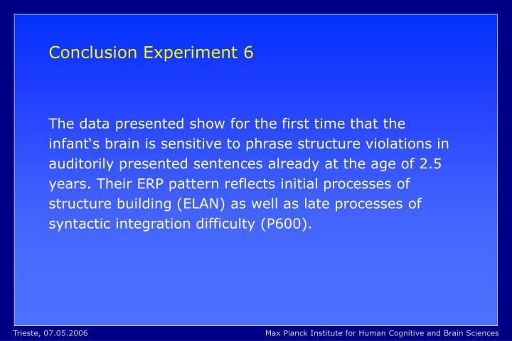 Conclusion Experiment 6