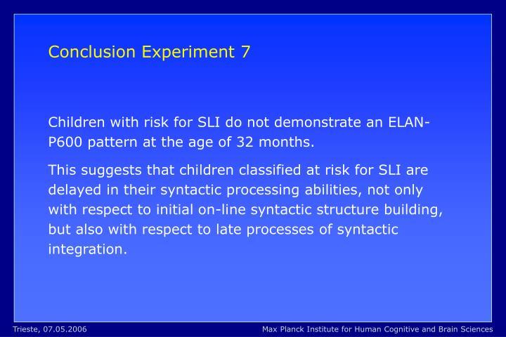 Conclusion Experiment 7