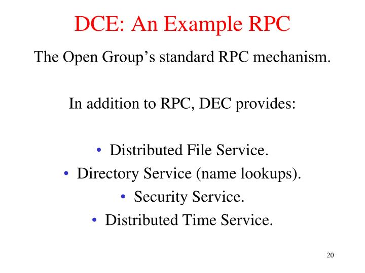 DCE: An Example RPC