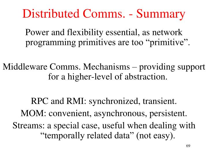 Distributed Comms. - Summary