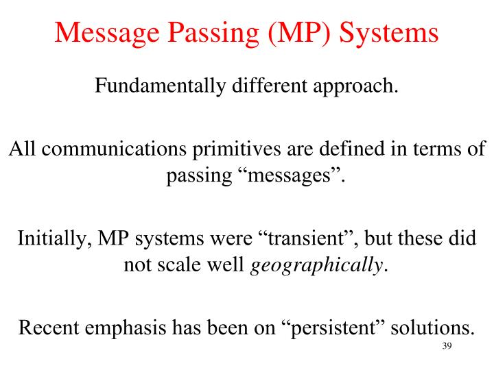 Message Passing (MP) Systems