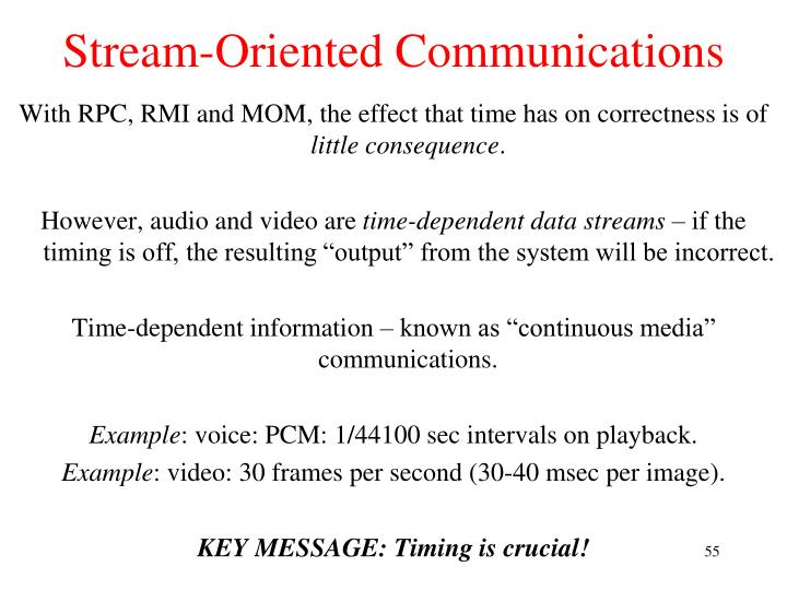Stream-Oriented Communications