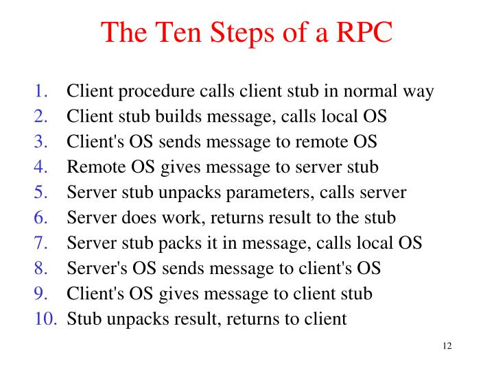 The Ten Steps of a RPC