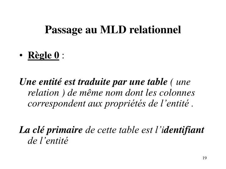 Passage au MLD relationnel
