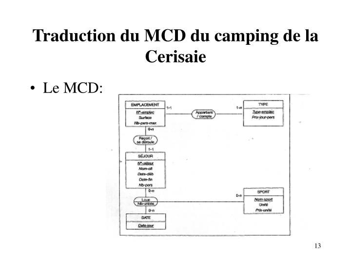 Traduction du MCD du camping de la Cerisaie