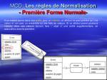 mcd les r gles de normalisation premi re forme normale