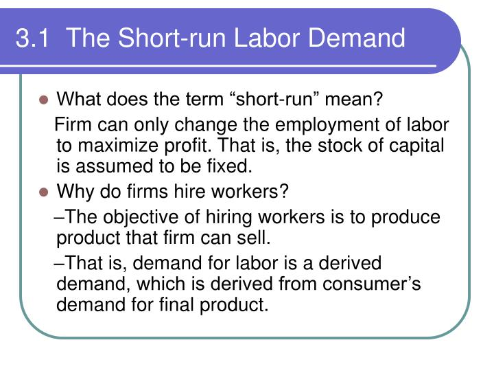 3 1 the short run labor demand