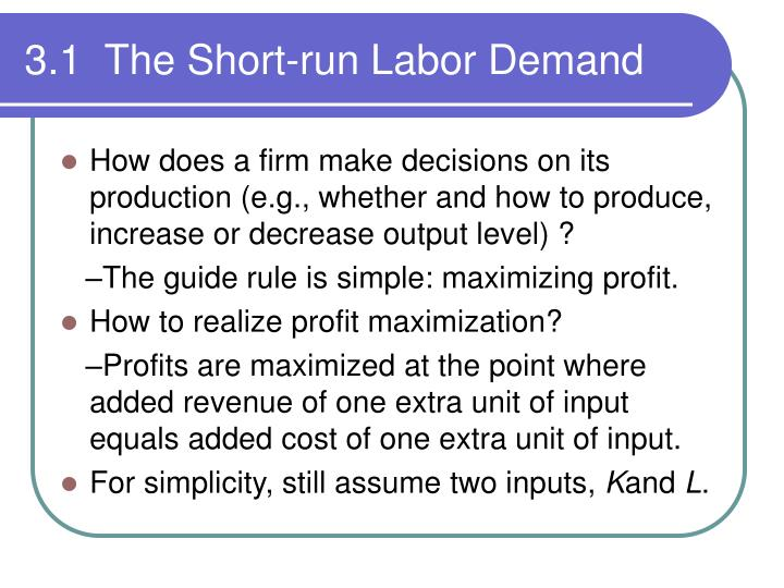 3 1 the short run labor demand1
