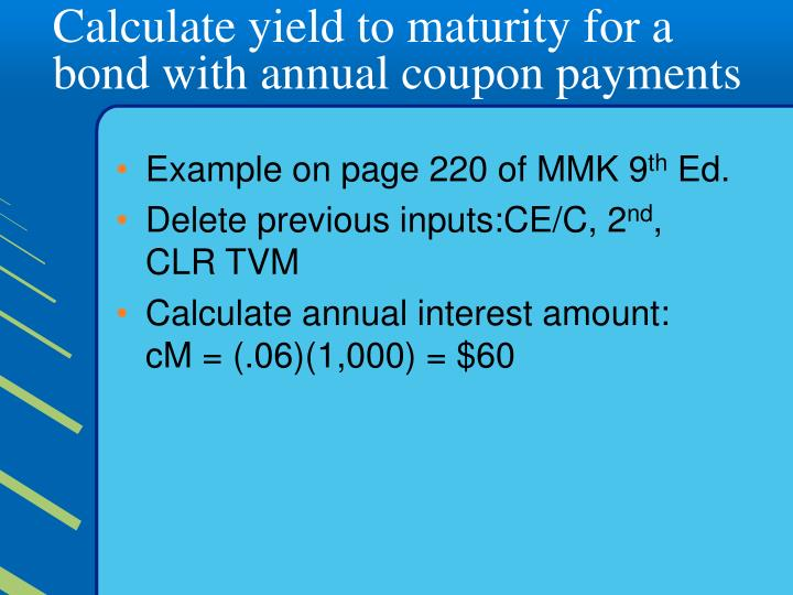 Calculate yield to maturity for a bond with annual coupon payments