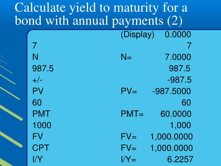Calculate yield to maturity for a bond with annual payments (2)