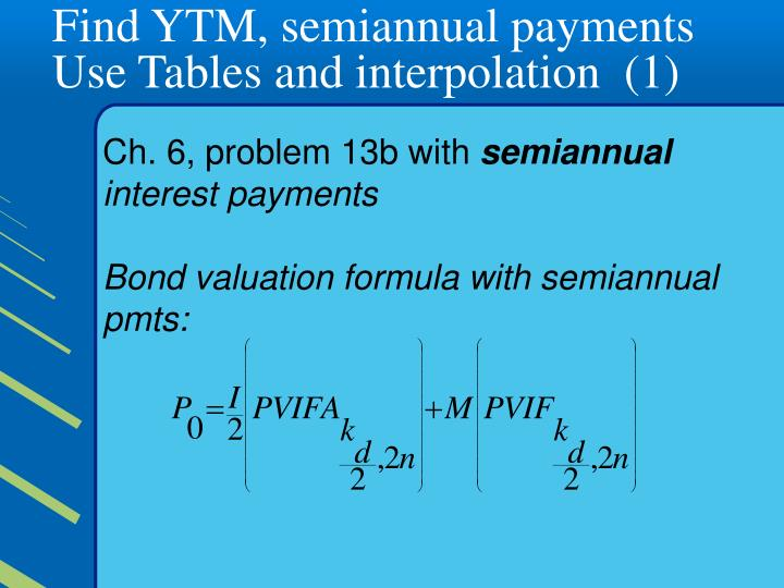 Find YTM, semiannual payments  Use Tables and interpolation  (1)