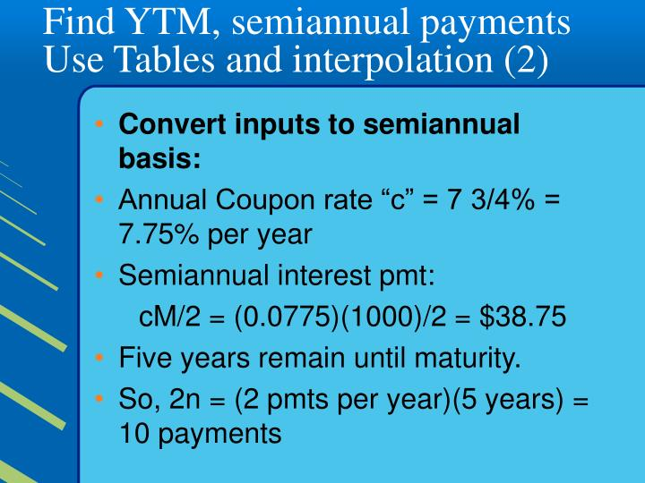 Find YTM, semiannual payments  Use Tables and interpolation (2)