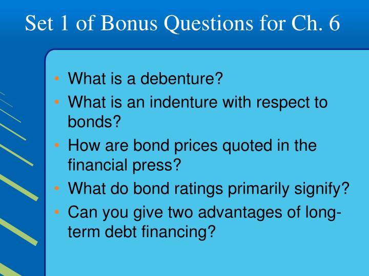 Set 1 of Bonus Questions for Ch. 6