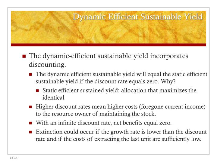 Dynamic Efficient Sustainable Yield