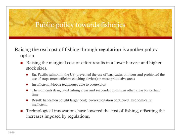 Public policy towards fisheries