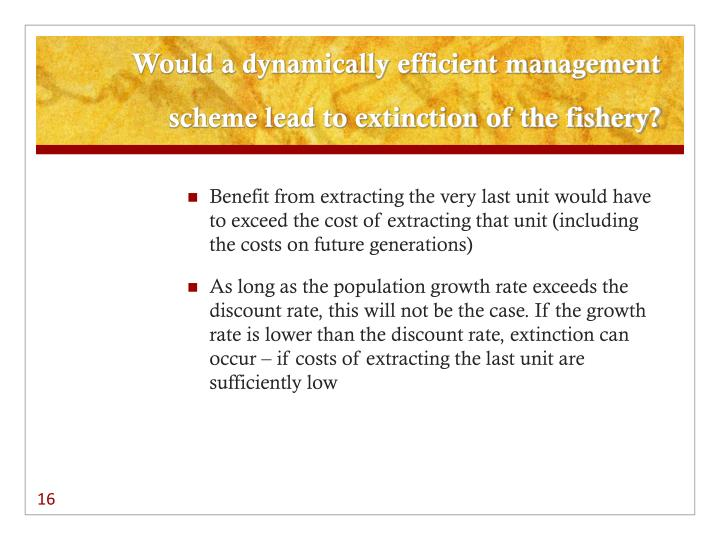 Would a dynamically efficient management scheme lead to extinction of the fishery?