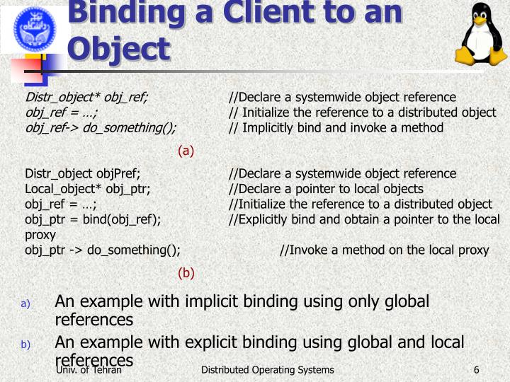 Binding a Client to an Object