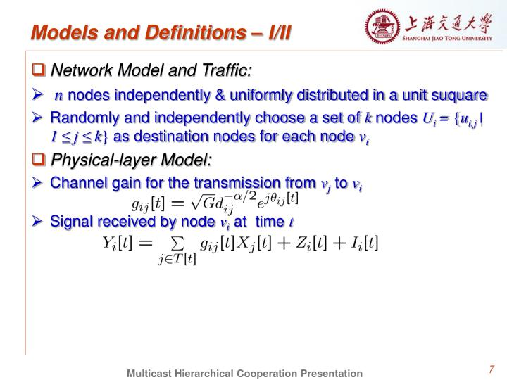 Models and Definitions – I/II