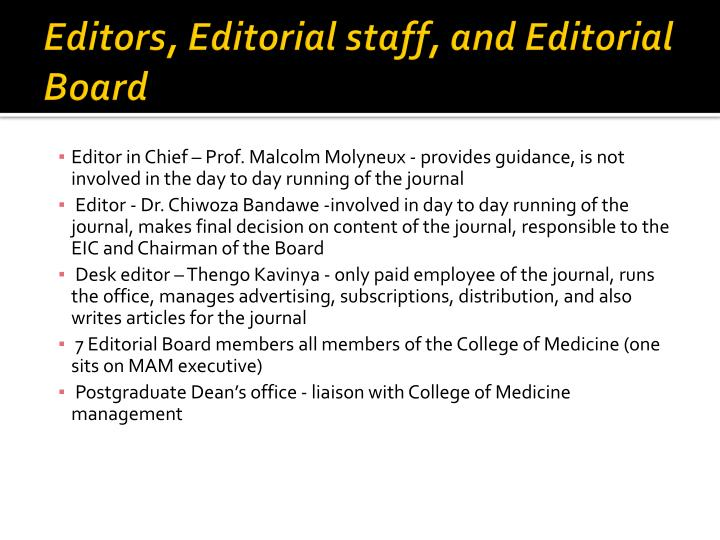Editors editorial staff and editorial board