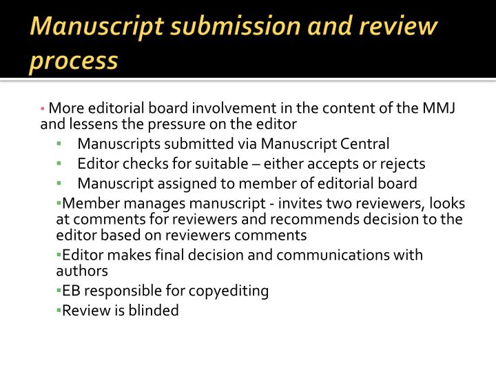 Manuscript submission and review process