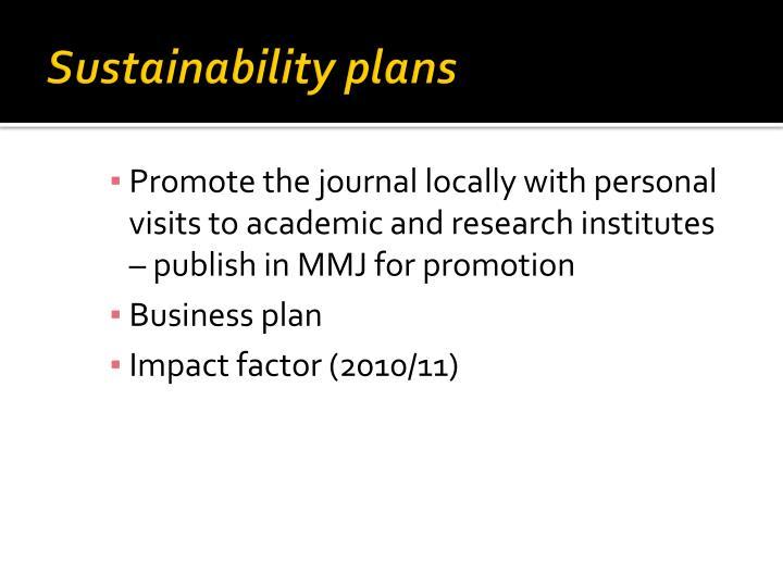 Sustainability plans
