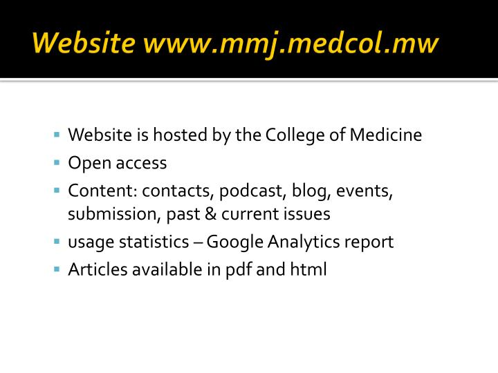 Website www.mmj.medcol.mw