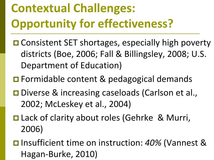 Contextual Challenges: