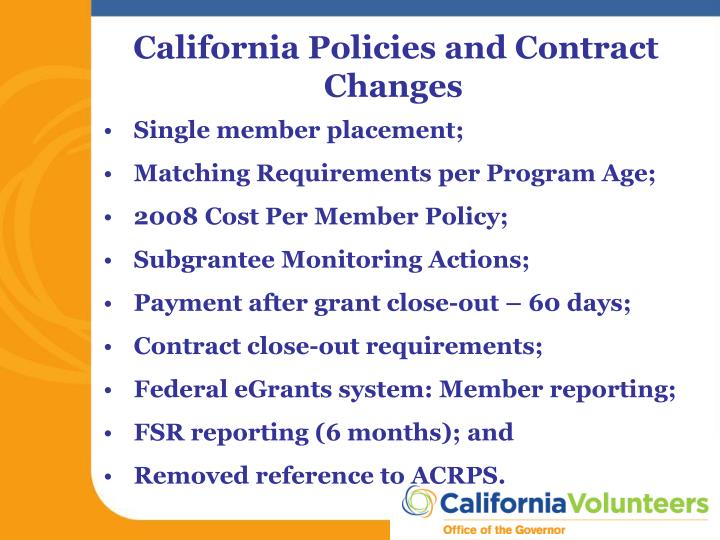 California Policies and Contract Changes