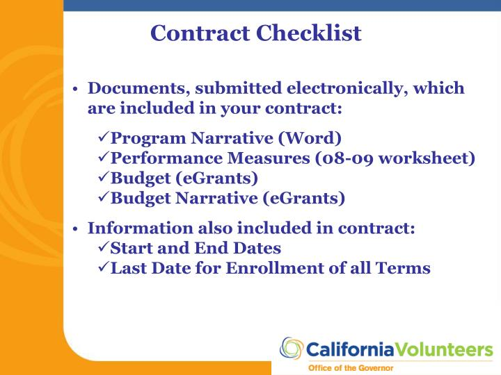 Contract Checklist