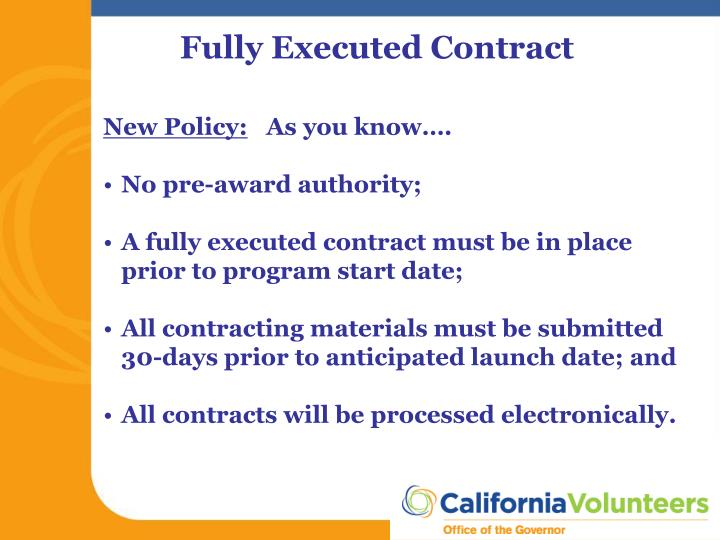 Fully Executed Contract