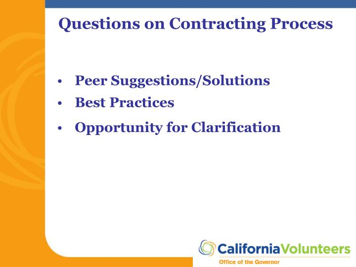 Questions on Contracting Process