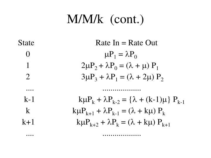 M/M/k  (cont.)