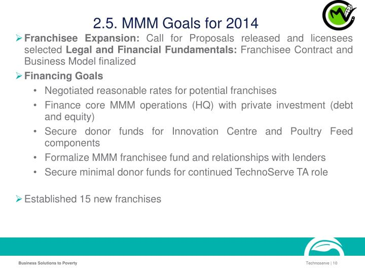 2.5. MMM Goals for 2014