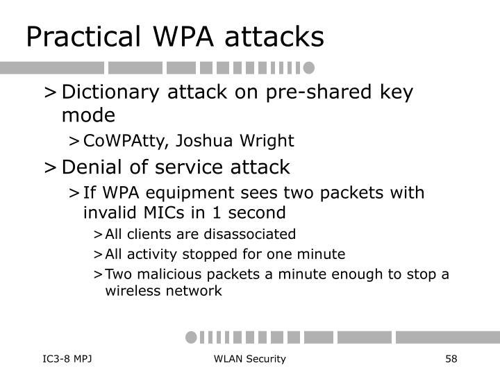 Practical WPA attacks