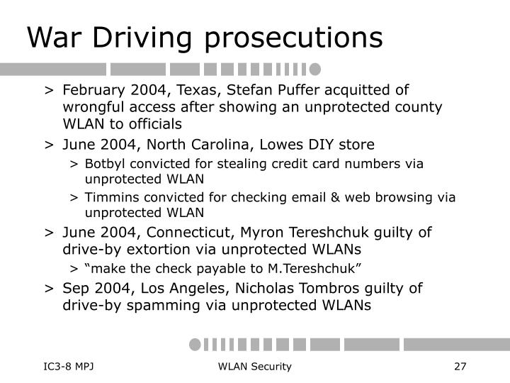 War Driving prosecutions