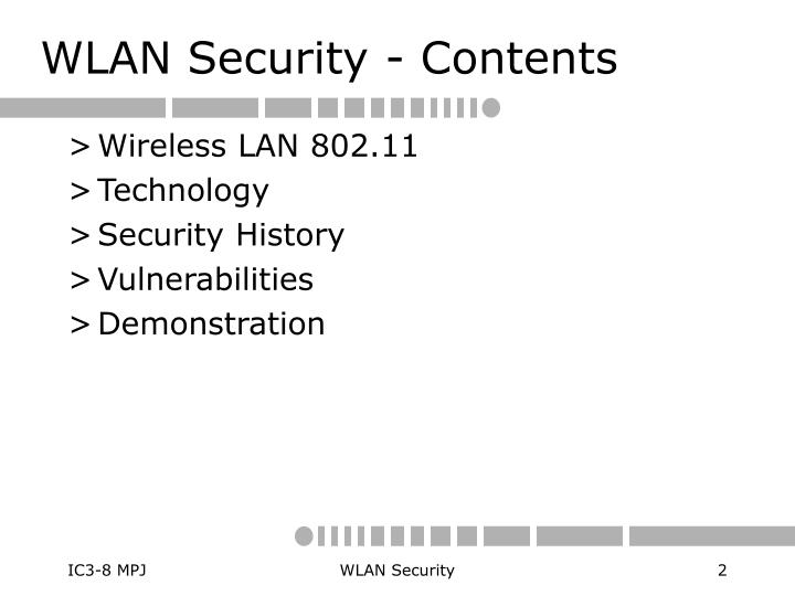 WLAN Security - Contents