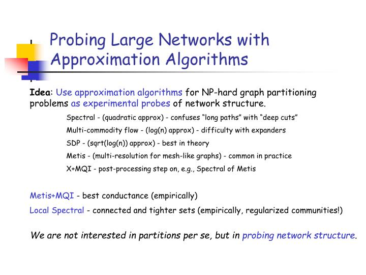 Probing Large Networks with Approximation Algorithms