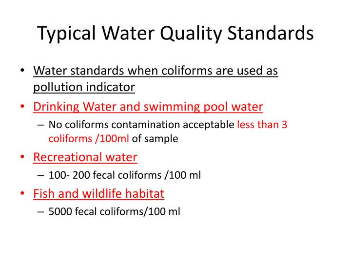 Typical Water Quality Standards