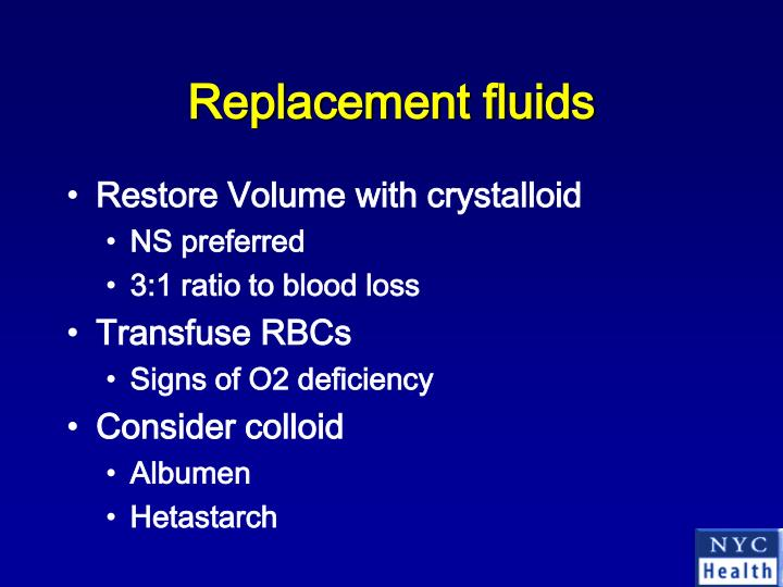 Replacement fluids