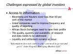 challenges expressed by global investors