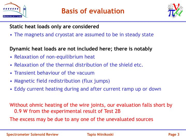 Basis of evaluation