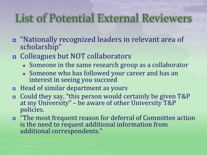List of Potential External Reviewers