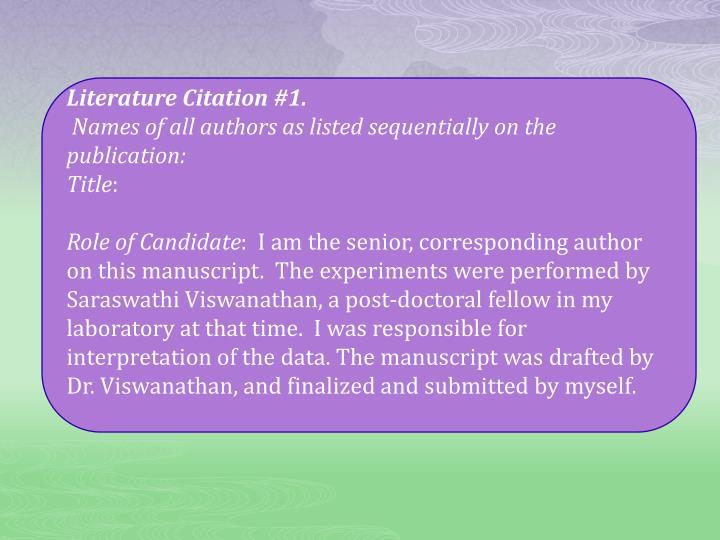 Literature Citation #1.