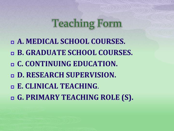 Teaching Form