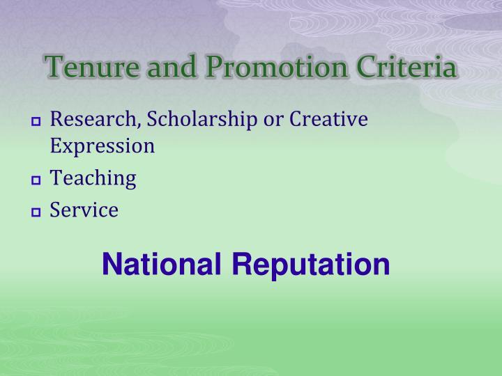 Tenure and Promotion Criteria