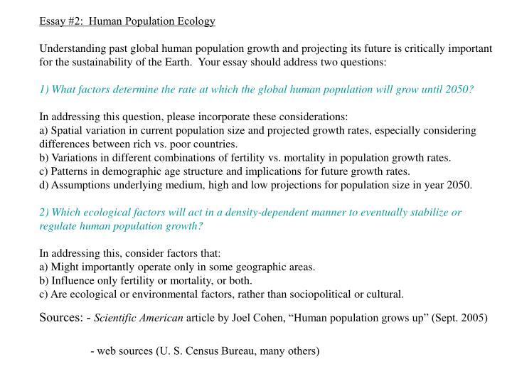 Essay #2:  Human Population Ecology