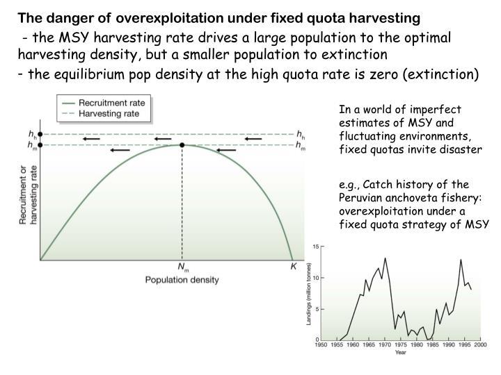 The danger of overexploitation under fixed quota harvesting